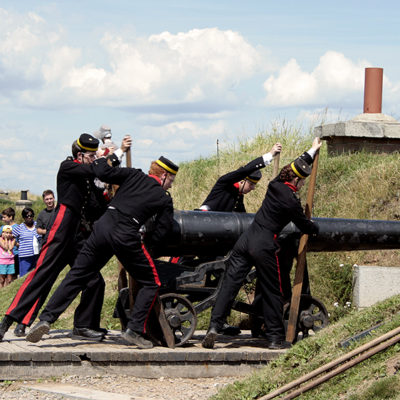 Halifax Citadel Guards Getting Ready To Fire Noon Cannon